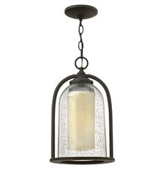 Hinkley 2612OZ Quincy 1 Light 9 inch Oil Rubbed Bronze Outdoor Hanging Lantern in Incandescent, Seedy Outer Glass #LightingNewYork