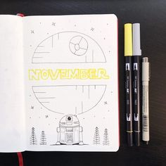 Bullet journal monthly cover page, November cover page, Star Wars bullet journal theme, Star Wars drawing, R2D2 drawing. @cherylsbujo