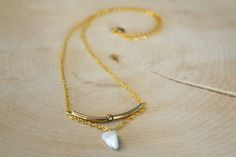 White Howlite Triangular Necklace by Stonelandia on Etsy