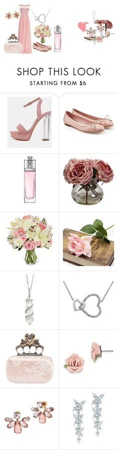 """Dusky Pink for Weddings"" by belle-boutique-uk on Polyvore featuring Salvatore Ferragamo, Christian Dior, Nearly Natural, Sharon Khazzam, Alexander McQueen, 1928, Marchesa, Tiffany & Co. and Van Cleef & Arpels"