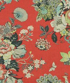 Robert Allen Elizas Garden Salem Red Fabric