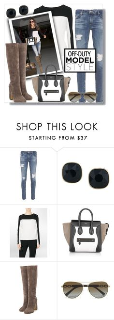 """""""#491 - Off Duty Model Style: Kendall Jenner"""" by lilmissmegan ❤ liked on Polyvore featuring AG Adriano Goldschmied, ABS by Allen Schwartz, Calvin Klein, CÉLINE, Rupert Sanderson, celebstyle, kendalljenner and offduty"""