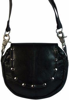6b6cdc7b58b Black Leather Convertible Biker Waist Bag Cross Body Purse   The Wanted  Wardrobe Boutique Stylish Handbags