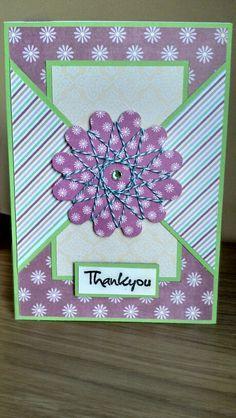 SpirellI flower thank you card handmade by www.icedimages.co.uk