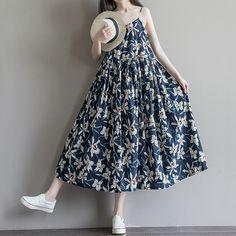 >> Click to Buy << Women Cotton Linen Sleeveless Dress Summer Maxi Dress Casual Loose Blue Floral Print Vestidos Spaghetti Strap Square Neck #Affiliate