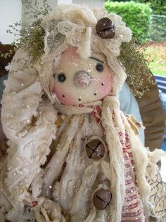 "PRIMITIVE PRM FOLK ART SNOWMAN SNOWWOMAN DOLL"" CANDY"" MUST SEE!!! #NaivePrimitive #LEAHSWHIMSICALCORNER THIS DOLL IS NOW AVAILABLE ON eBAY!! THANK YOU!! :0) SOLD"