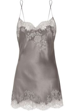 Handmade Anthracite silk-satin Gray lace appliqué Slips on 100% silk Dry clean Designer color: Oracle