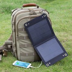 7-Watt Solar Panel Portable Phone and 5V USB Battery Charger
