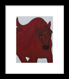 Horse Painting Framed Print featuring the painting Red Arabian Passion 3 by THELLI Helenia Tedesco