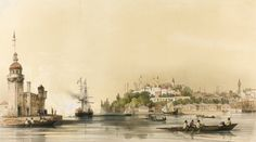 İstanbul 1847 - The painting of Kiz Kulesi. In the background Topkapi Palace and Blue Mosque.