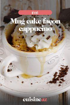 Le mug cake façon cappucino est un dessert express qui se cuit comme les mug cakes au micro-ondes.  #recette#cuisine#mugcake #cappucino#patisserie #microondes #ete Mug Cakes, Cake Mug, Dessert Express, Brunch, Comme, Pudding, Mugs, The Originals, Tableware