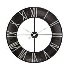 This wall clock features an open center encircled with a black iron rim that displays Roman numerals https://joyfulhomegoods.com/collections/wall-decor/products/sterling-industries-open-ring-wall-clock-171-014?variant=20311302087 Free gift for our Pinterest fans! $5 gift card, use code PIN5 to redeem!