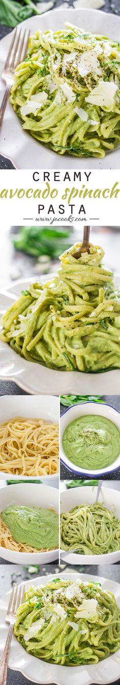 Creamy Avocado and Spinach Pasta..