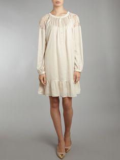 tunic style dresses beige | ... Quarter Sleeve Peasant Style Drop Waist Tunic Dress in Beige (Cream