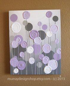 Grey and Purple Modern Nursery Art,  Impasto 16x20 Acrylic on Canvas, Made to Order