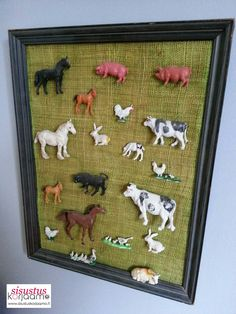 Cute artwork is made of old picture frame and some animal figures. Easy to make with your toddler!  #style #styling #home #homedecor #decor #decoration #interiordecor #interior #interiordesign #interiordesigner #design #designer #design4you #finland #kuopio #finnish #nordic #nordicstyle #inspiration #inspo #homeinspo #homestyling #details #instahome #createyourhome #boysroom #babyboy #kidsroom #room4kid #room4boy #toddler #beautifulhome #beautifulsoul #makeyourhomebeautiful #diy