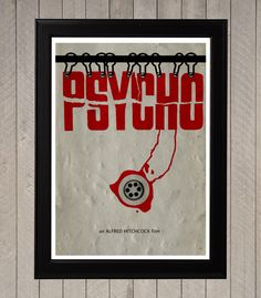 Psycho, Alfred Hitchcock Minimalist Poster, Movie Poster, Art Print by CultPoster on Etsy https://www.etsy.com/listing/161851594/psycho-alfred-hitchcock-minimalist