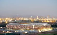 Soccer City by Boogertman Urban Edge + Partners and Populous Soccer City, Soccer Stadium, Football Stadiums, Fifa World Cup, South Africa, Paris Skyline, Facade, Dolores Park, Around The Worlds