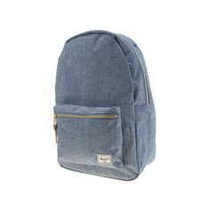 Herschel Blue Settlement Backpack Accessory ($79) ❤ liked on Polyvore featuring bags, backpacks, blue, travel daypack, herschel rucksack, blue travel bag, denim backpack and zipper bag