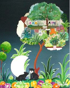 """Arte naif PILAR SALA """"El árbol y los gatos negros"""""""