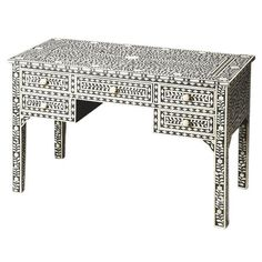 Handcrafted desk with bone inlays in a vine motif.   Product: DeskConstruction Material: Bone veneers, MDF and re...