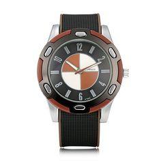 Sale 21% (7.39$) - WOMAGE Men Big Round Dial Silicon Quartz Watch