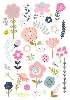 Floral/Botanical Study Art Print/Wall Art/Illustration/Home Tumblr Pattern, Illustration Art, Illustrations, Cute Wallpapers, Floral Wallpapers, Flower Doodles, Colorful Wallpaper, Art Studies, Graphic