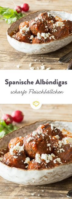 Scharfe Albóndigas – spanische Fleischbällchen The spicy meatballs in chilli sauce not only taste deliciously warm, but also as cold tapas. Spanish Meatballs, Spicy Meatballs, Tapas Party, Party Snacks, Apple Recipes, Beef Recipes, Meatball Recipes, Flamenco Festival, Sauce Chili