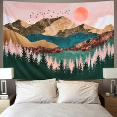 Tapestry Nature, Tree Tapestry, Tapestry Bedroom, Tapestry Wall Hanging, Dorm Tapestry, Tapestries Diy, Wall Hangings, Ideias Diy, My New Room