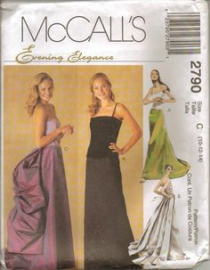 McCalls Sewing Pattern 2790 Gown Evening Skirt Bustle Train Misses Size 10 12 14 #McCalls #EveningGown