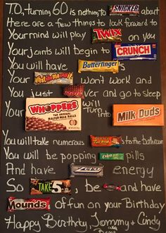Old Age Over The Hill 60th Birthday Candy Card Poster Using Bars Bar For Guys Men