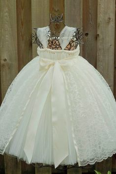 Ivory Flower Girl Tutu Dress with Ivory Lace Overlay - Sizes 24m thru 4T. $110.00, via Etsy.