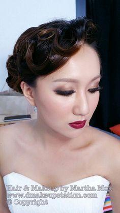Bridal Makeup & Bridal Hair Styling.Wedding makeup and hair styling by Martha Mok. Www.dmakeupstation.com  #Dmakeupstation #upstyle #korean hair #Asian makeup  #marthamok #Asian bride #Wedding hair #Wedding Makeup #bridal hair #bridal makeup #hair styling #Asian makeup artist #natural makeup #Wedding  #Korean Makeup