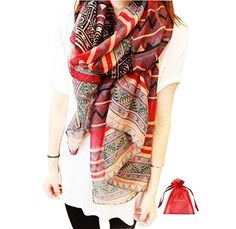 Fashion Women Long Voile Tribal Aztec Scarf Shawl Muslim Hijab Bohemian Voile Soft Silk Scarf * Be sure to check out this awesome product.