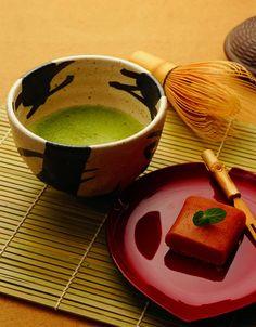 Loving the deep intense colours of the Ocha tea and wagashi.