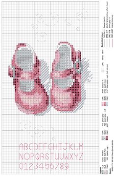 Grille point de croix chaussures bebe fille Baby shoes girl with beads and DMC Light Effects Baby Cross Stitch Patterns, Cross Stitch Alphabet, Cross Stitch Baby, Cross Stitch Kits, Cross Stitch Charts, Cross Stitch Designs, Baby Patterns, Cross Stitching, Cross Stitch Embroidery