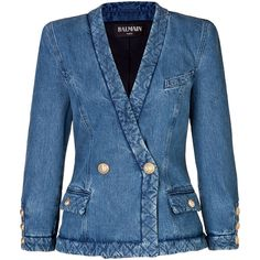 BALMAIN Denim Blazer With Quilted Trim ($990) ❤ liked on Polyvore featuring outerwear, jackets, blazers, balmain, denim, jean jacket, slim fit blue blazer, slim fit double breasted blazer, denim jean jackets and quilted jacket