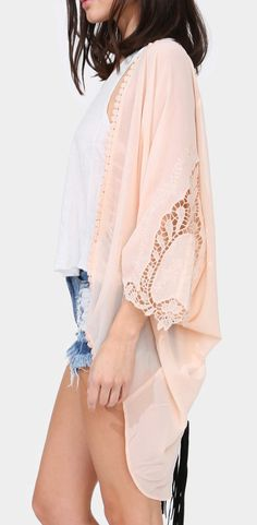Pretty blush kimono - would look great with jeans