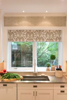 Stainless Sink and Countertop - Contemporary - Kitchen - Photos by J. Patryce Design | . I love the pattern of the valance over the sink