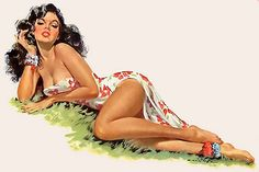 Hawaiian Pin Up By Ernest Chiriaka, Pin Up Girls, Pin Up Illustration, Pin Up Posters, Calendar Girls, Hula Girl, Themed Outfits, Pin Up Art, Vintage Girls, Vintage Glamour