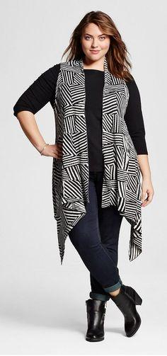 Plus Size Long Open Sweater Vest