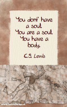 You don't have a soul. You are a soul. You have a body - C.S. Lewis