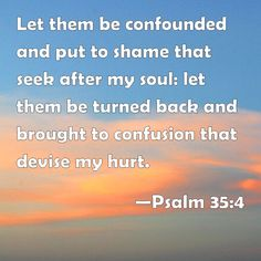 Psalm Let them be confounded and put to shame that seek after my soul: let them be turned back and brought to confusion that devise my hurt. Psalm 35, Bible Psalms, Bible Words, Bible Scriptures, Bible Verses Quotes Inspirational, Biblical Quotes, Prayer Quotes, Bible Quotes, Faith Hope Love