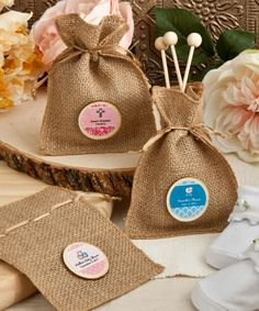 "Put a distinctively natural touch on one-of-a-kind favors with these Design Your Own Collection burlap treat bags There's something so ""Earthy"" and natural about burlap!  Available from Lady Slipper Stationery $1.00"