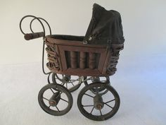 Miniature Baby Buggy Vintage Decorative Wicker by HobbitHouse