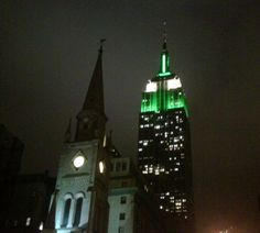 Empire State Building wearing her NY Jets green and white.