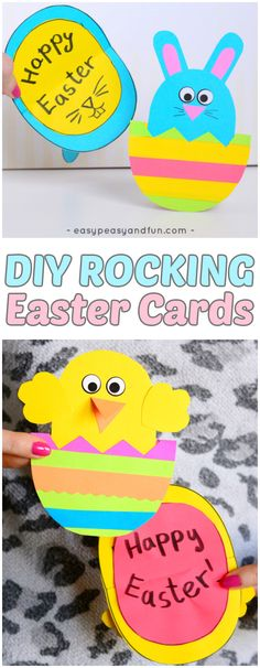 The most adorable DIY Easter cards - a chick and bunny that both rock and open up #colorize #ad