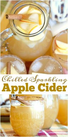 Chilled sparkling apple cider recipe that tastes amazing!! Make it a mocktail or a cocktail, perfect Fall drink that everyone raves about!! @mychinet AD