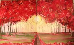 """Red Trees"" by Karen Schuch - #paintnite #art #red #trees"
