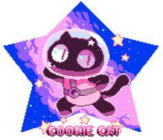 Cookie cat is from the show Steven Universe by Rebecca Sugar. Cartoon Network, Minions, Web Design, Game Design, Cat Art Print, Cat Character, Art Inspo, Pixel Art, Nerd